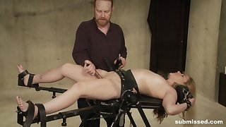 Tied girl Sicilia Ricci gets her pussy pleased by friend's vibrator