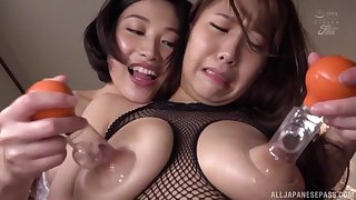 Busty and nasty Sunohara Miki likes to play all lesbian sex games