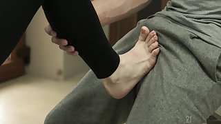 Foot fetish fuck ends with a huge cumshot for blonde babe Nesty