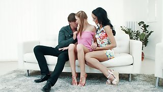 Charming teen with pigtails Sarah Kay takes part in couple threesome sexual relations