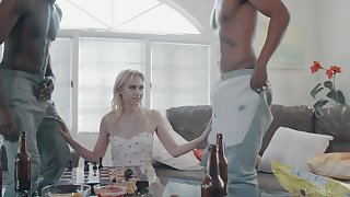 Two big black dudes bang slender blondie with small tits Chloe Cerise