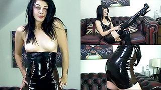 Zoe Moore in Ebon Dress and Stockings - LatexHeavenVideo