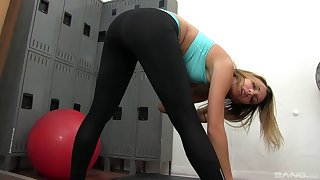 Fit indulge Sophia Transform into takes off her clothes with an increment of sucks a dick