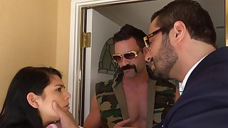 Hairy sunless teen shared in imperturbable threesome XXX